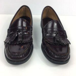 Sebago Brown Leather Loafer Slides Tassel 8